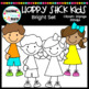 Happy Stick Kids Clipart {Bright Set}