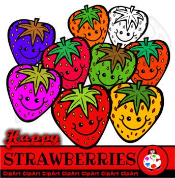 Happy Strawberries - Doodle Clip Art