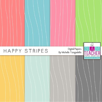 Happy Stripes Digital Papers