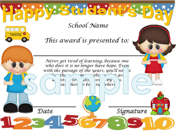 Happy Student's Day Students clips Achievement award English / Spanish version