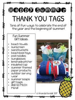 End of Year Happy Summer Gift Tags *Editable*