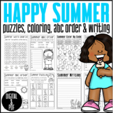 Happy Summer: PUZZLES/ABC ORDER/WORD SEARCH/ WRITING/DIGITAL