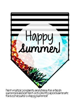 Happy Summer! Pineapple Themed Banner, Gift Tags, & Bookmarks!