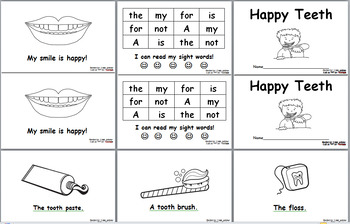 Happy Teeth Dental Health Emergent Sight Word Readers (Level A and B)