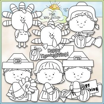 Happy Thanksgiving Clip Art - Pilgrims Clip Art - CU Clip Art & B&W