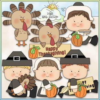 Happy Thanksgiving Clip Art - Pilgrims Clip Art - CU Clip