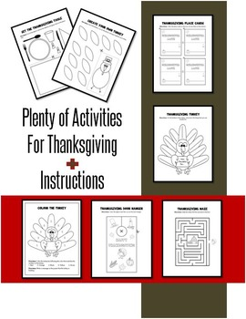 Thanksgiving Math and Literacy Packet for Kindergarten JUST PRINT