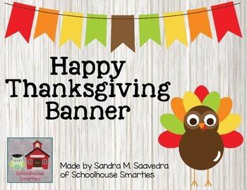 Happy Thanksgiving Banner - Polka Dot Turkey