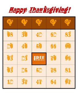 Happy Thanksgiving - Bingo Game Worksheets