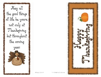 Happy Thanksgiving Card with Bookmark and Activity Insert  Give to your students