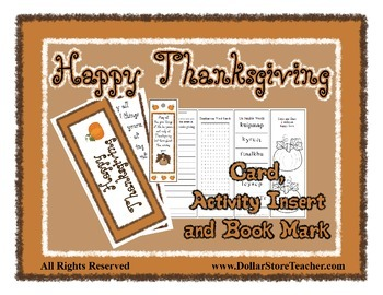 Happy Thanksgiving Card with Bookmark and Activity Insert