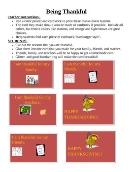 Happy Thanksgiving Card with pictures, and thanks (card-writing activity)