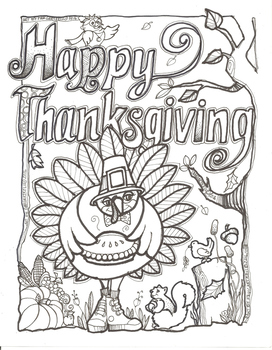 Happy Thanksgiving Coloring Sheet