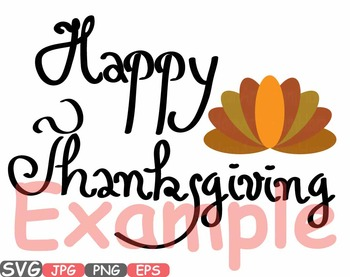 Happy Thanksgiving Day Word Art Autumn Clipart Give Thanks Turkey holiday -449s