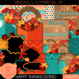 Happy Thanksgiving Digital Paper and Clipart Set