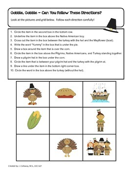 Thanksgiving ~ Gobble, Gobble Following Directions!