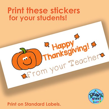 Thanksgiving Sticker! Printable on labels