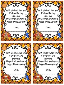 Happy Thanksgiving Student Gift Tags!