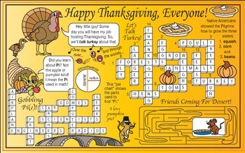 Happy Thanksgiving (Turkey and 'Pi') Two-Page Activity Set