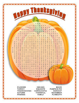 Happy Thanksgiving Word Search Puzzle