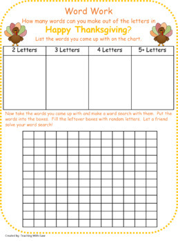 Happy Thanksgiving:  Making Words and Extension Word Search Activity
