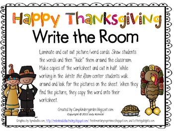 Happy Thanksgiving Write the Room
