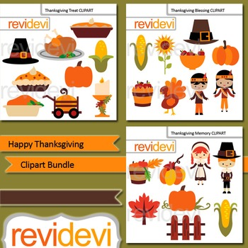 Happy Thanksgiving clip art bundle (3 packs)