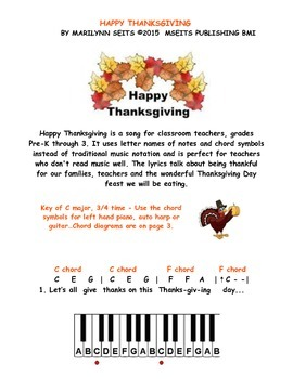 Happy Thanksgiving - easy piano song w/ letter names inste