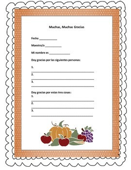 4 pages Happy Thanksgiving quick activity and poster in English and Spanish