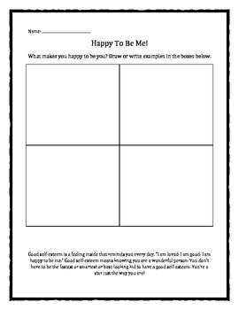 Happy To Be Me! worksheet