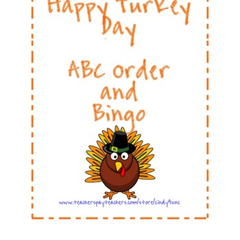 Happy Turkey Day Bingo or ABC order