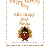 Happy Turkey Day Bingo or ABC order