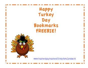 Happy Turkey Day Bookmarks Freebie