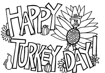 Happy Turkey Day coloring sheet