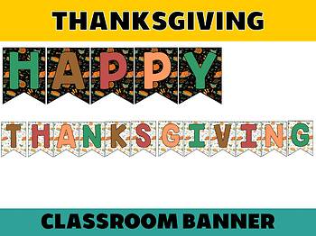 Happy Up Banner FREEBIE : Thanksgiving, Bulletin & Class Decor