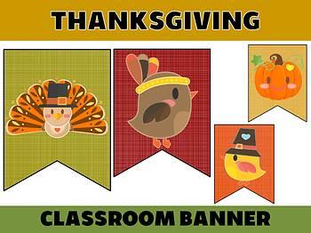 Happy Up Banner FREEBIE : Thanksgiving Linen, Bulletin & Class Decor