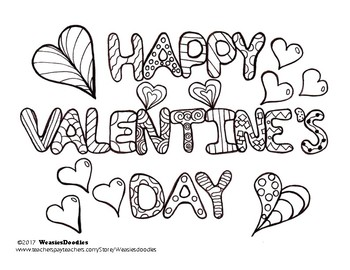 Happy Valentine's Day Colouring Page
