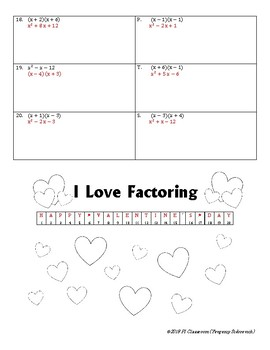 Happy Valentine's Day Factoring and Multiplying Polynomials
