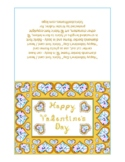 Happy Valentine's Day Gold Fabric Font Heart Diamonds Gold