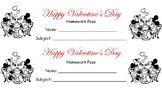 Happy Valentine's Day Homework Pass
