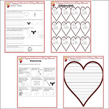 Happy Valentine's Day, Mouse! : Reading Comprehension Math Activity Packet