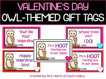Happy Valentine's Day Owl Gift Tags