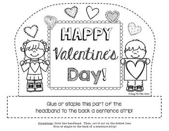 Happy Valentine's Day Sentence Strip Headband {Black Line & Color}