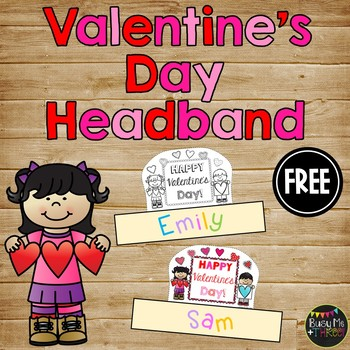 Happy Valentine's Day Sentence Strip Headband {Black Line & Color}