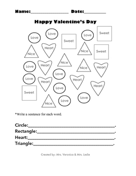 Happy Valentine's Day Word, Shape, Coloring recognition activities!
