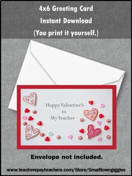 Happy Valentine's To Teacher, Digital Download, Printable Greeting Card