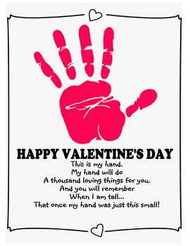 Happy Valentine's day Handprint kids art craft parent gift