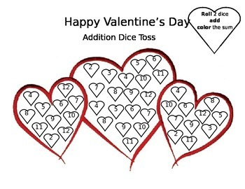 Valentine's Day Addition Dice Toss