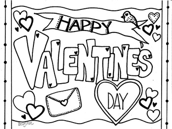 Happy Valentine's Day Coloring Sheet