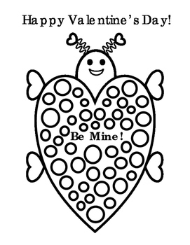 Happy Valentines Day Heart Bug Art Polka Dots Color Fine Motor Bulletin Board 4p
